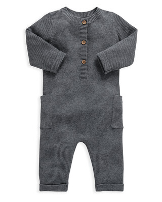 Grey Knitted Ribbed Romper