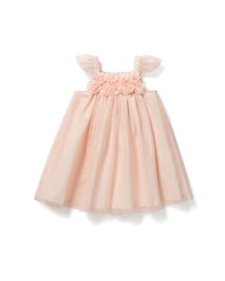 فستان قماش شبكي بزهور بارزة
