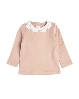 Pink Lace Collar Long Sleeve T-Shirt