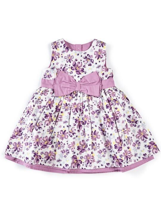 فستان بنقشة زهور مزين بعقدة على الخصر image number 1