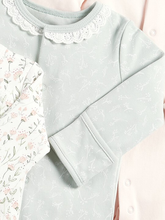 Floral Sleepsuits - Pack of 3 image number 2
