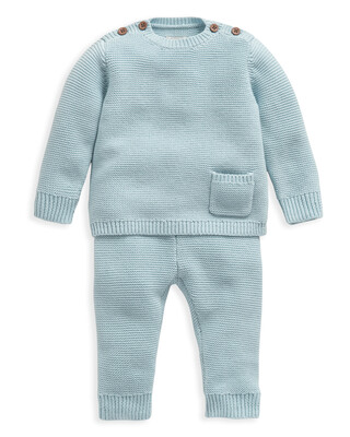 Blue Knitted 2 Piece Set