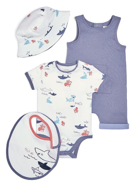 طقم لباس قطعة واحدة بطبعة كائنات بحرية ورومبر وصدرية وقبعة، 4 قطع image number 1