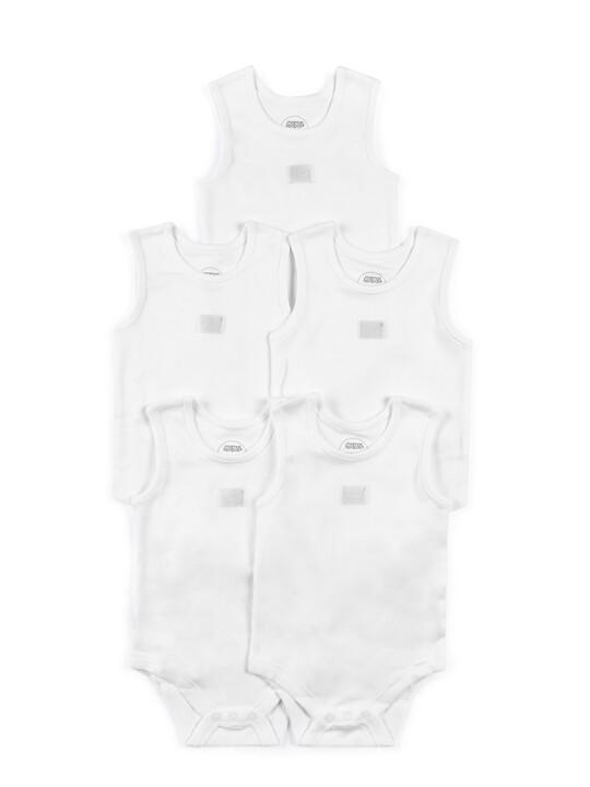 طقم لباس قطعة واحدة بلا أكمام أبيض - 5 قطع image number 1