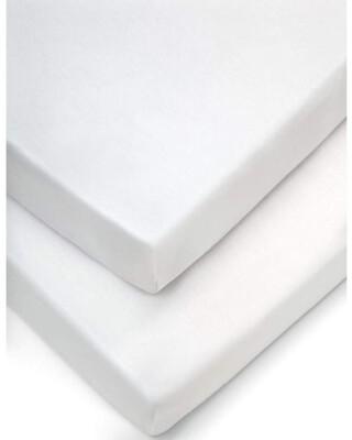 شراشف مهد بحواف مطاطية (عبوة من قطعتين) - أبيض