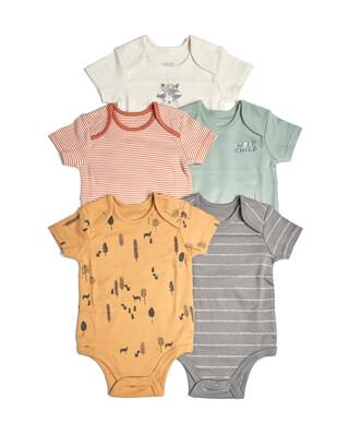 طقم لباس قطعة واحدة بتصاميم متنوعة للأولاد - 5 قطع